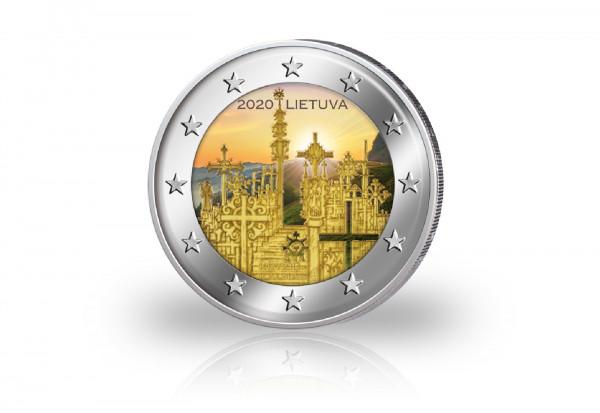 2 Euro 2020 Litauen Berg der Kreuze mit Farbmotiv