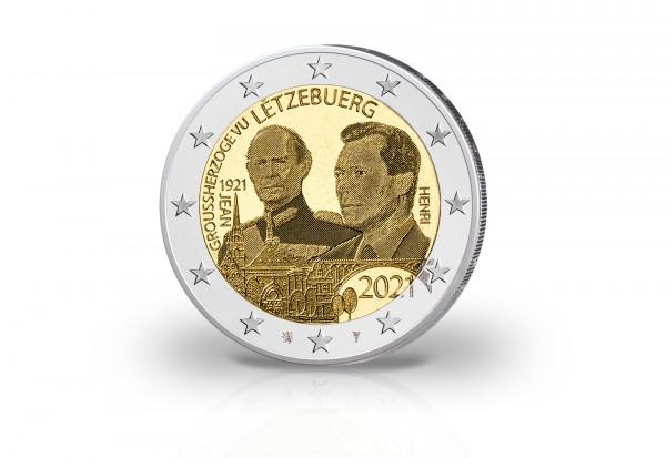 2 Euro 2021 Luxemburg 100. Geburtstag Großherzog Jean Photoprägung