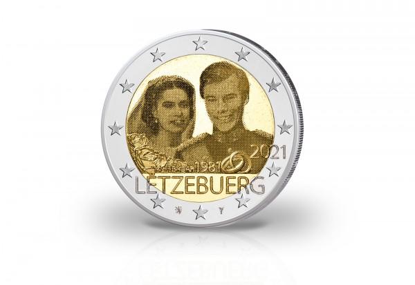 2 Euro 2021 Luxemburg 40. Hochzeitstag Großherzog Henri Photoprägung