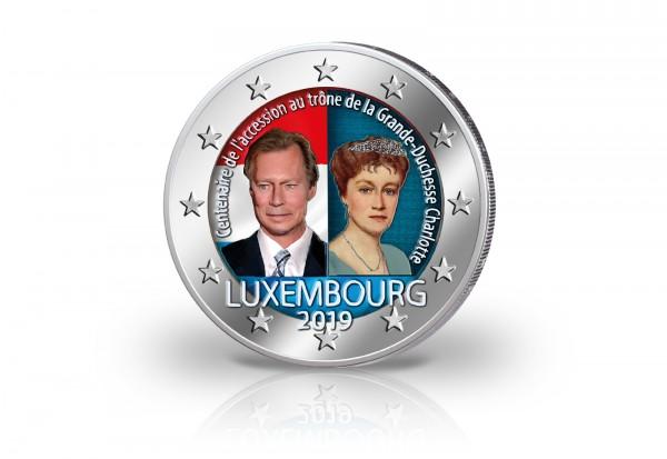 2 Euro 2019 Luxemburg 100. Jahrestag Thronbesteigung von Großherzogin Charlotte mit Farbmotiv