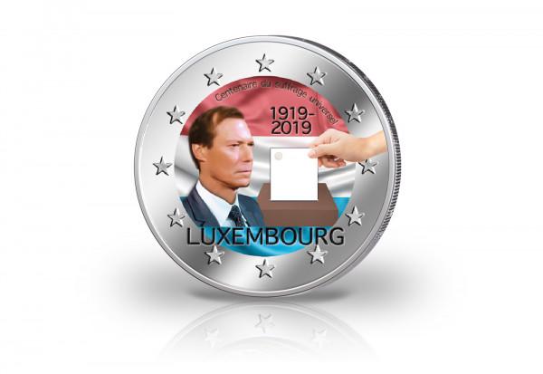 2 Euro 2019 Luxemburg 100 Jahre Allgemeines Wahlrecht mit Farbmotiv