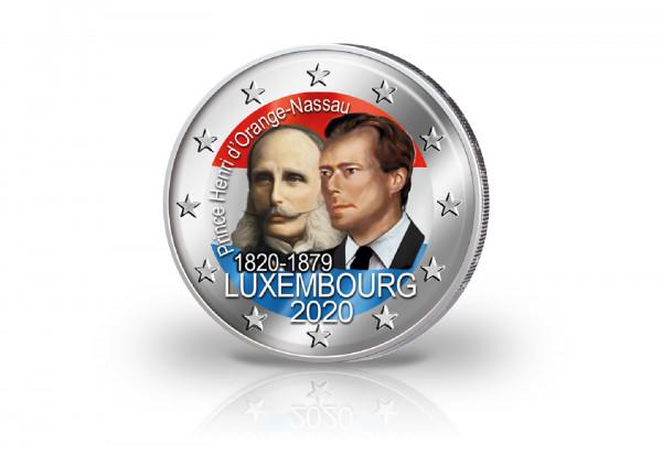 2 Euro 2020 Luxemburg 200. Geburtstag von Prinz Henri von Oranien-Nassau mit Farbmotiv