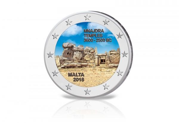 2 Euro 2018 Malta Mnajdra Tempel mit Farbapplikation