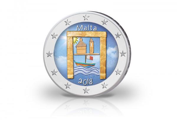 2 Euro 2018 Malta Kulturelles Erbe mit Farbapplikation