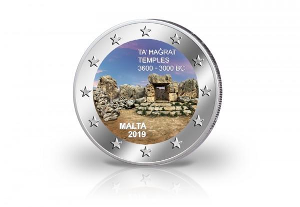 2 Euro 2019 Malta Ta Hagrat Tempel mit Farbmotiv