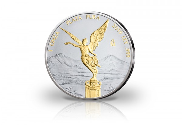Libertad 1 oz Silber 2019 Mexiko veredelt mit 24 Karat Goldapplikation