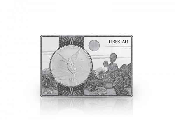 Libertad 1 oz Silber 2019 Mexiko eingefasst in einem Barren