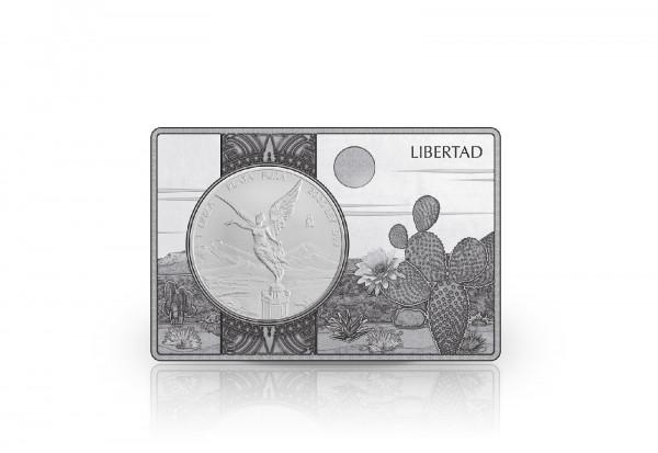 Libertad 1 oz Silber 2020 Mexiko eingefasst in einem Barren