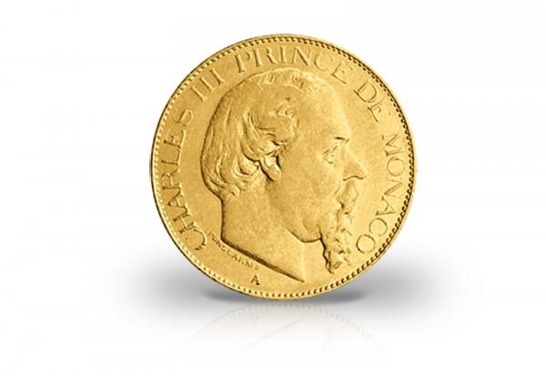 20 Francs Goldmünze 1878-1879 Monaco Charles III.