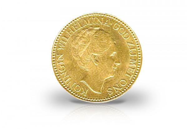 10 Gulden Goldmünze 1925-1933 Niederlande Wilhelmina