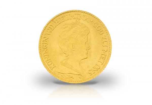 10 Gulden Goldmünze 1911-1917 Niederlande Wilhelmina mit Krone