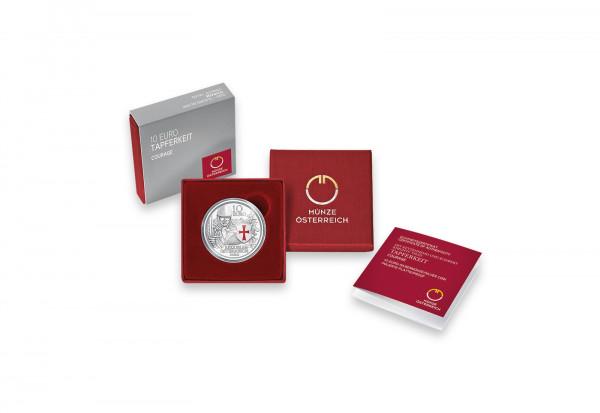 10 Euro Silbermünze 2020 Österreich Mit Kettenhemd und Schwert Tapferkeit PP im Etui