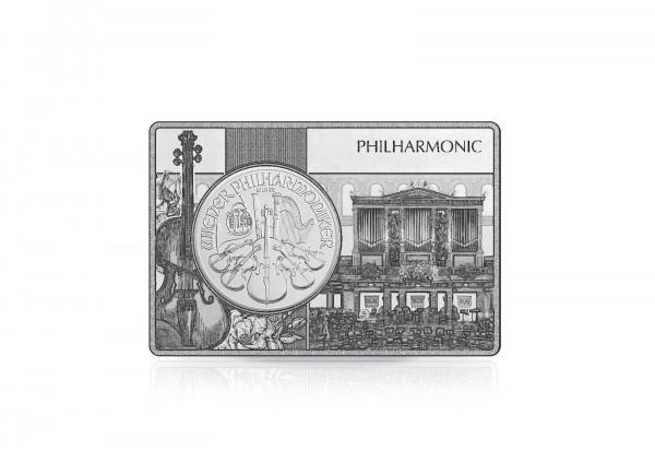 Wiener Philharmoniker 1 oz Silber 2020 Österreich eingefasst in einem Barren
