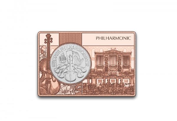 Wiener Philharmoniker 1 oz Silber 2020 Österreich eingefasst in einem Kupferbarren
