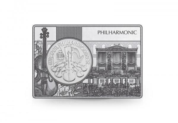 Wiener Philharmoniker 1 oz Silber 2021 Österreich eingefasst in einem Barren