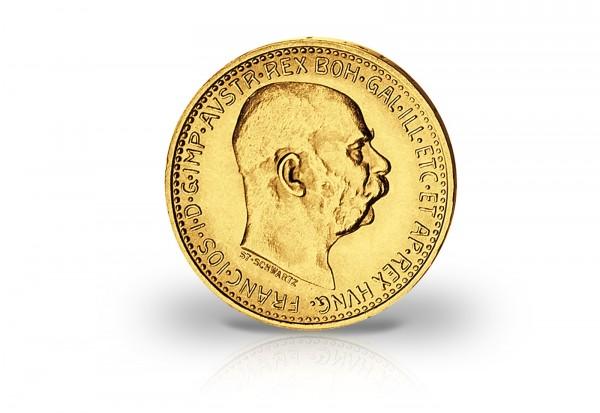 10 Kronen Goldmünze Österreich 1909 - 1912 Franz Joseph I. mit Gravur
