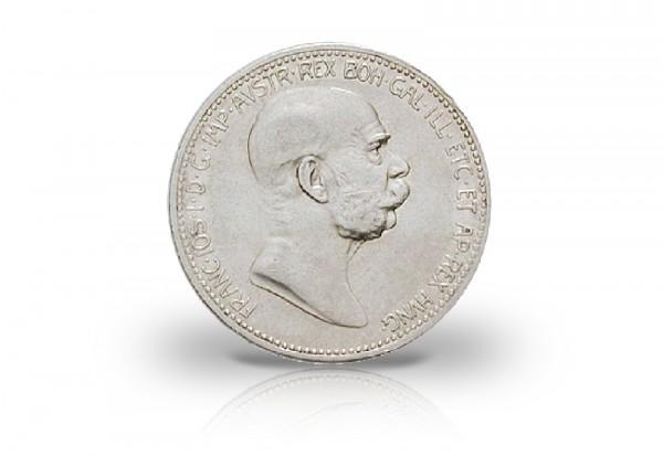 1 Korona Silbermünze 1908 Österreich Kaiser Franz Joseph I.