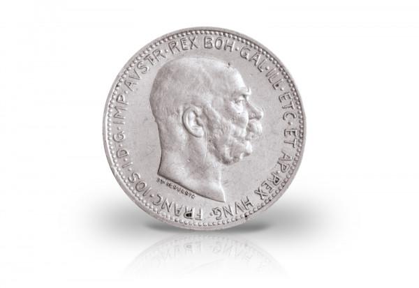 1 Krone 1912-1916 Österreich Kaiserreich Franz Joseph I. Ag. ANK 69 ohne Lorbeerkranz