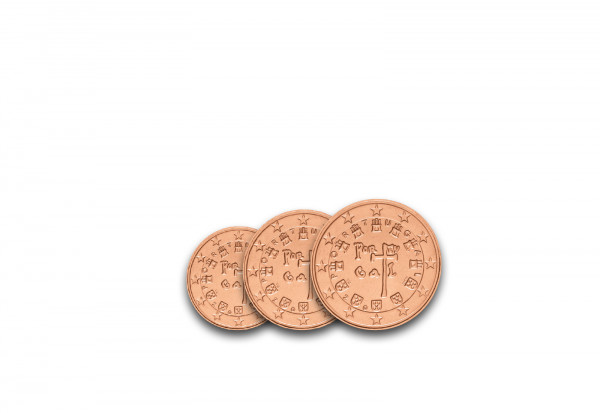 1, 2, 5 Cent Portugal bfr.