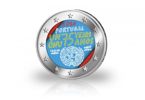 2 Euro 2020 Portugal 75 Jahre Vereinte Nationen mit Farbmotiv
