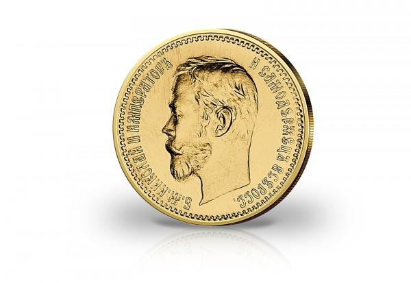 Russland 5 Rubel Goldmünze Zar Nikolaus II. 1902 mit Plombe