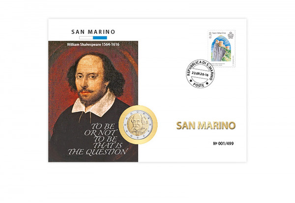 2 Euro 2016 San Marino 400. Todestag W. Shakespeare im Numisbrief