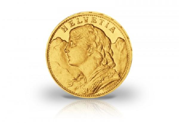 20 Franken Goldmünze Schweiz Vreneli Jahrgang unserer Wahl