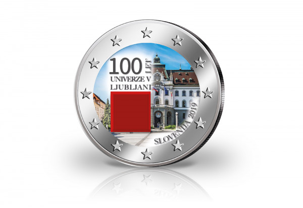 2 Euro 2019 Slowenien 100 Jahre Universität Ljubljana mit Farbmotiv