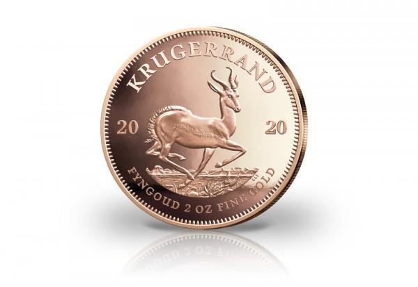 Krügerrand 2 oz Gold 2020 Südafrika PP in Holzbox mit Zertifikat
