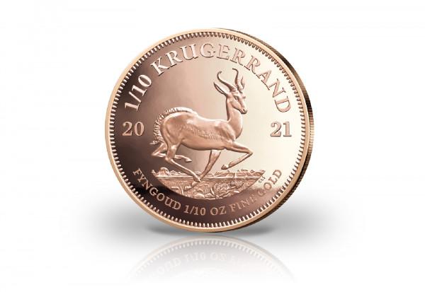Krügerrand 1/10 oz Gold 2021 Südafrika PP im Etui