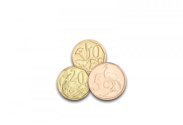 Kurzsatz 5 ,10 und 20 Cent Südafrika 50 Jahre Krügerrand