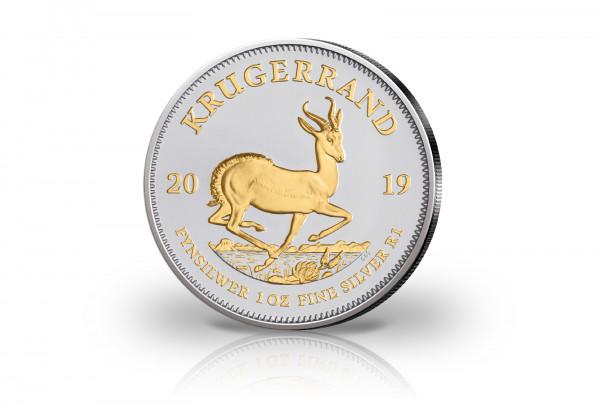 Krügerrand 1 oz Silber 2019 Südafrika veredelt mit 24 Karat Goldapplikation