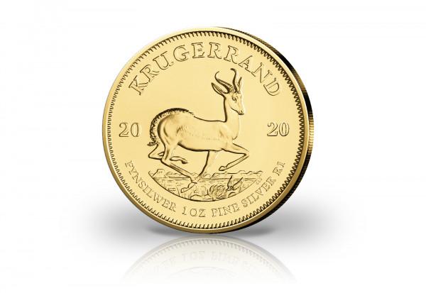 Krügerrand 1 oz Silber 2020 Südafrika veredelt mit 24 Karat Gold