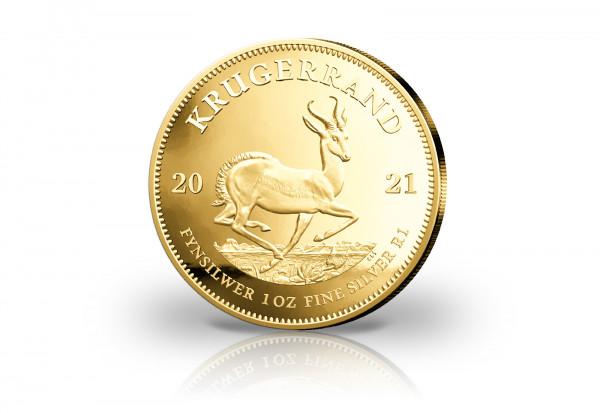 Krügerrand 1 oz Silber 2021 Südafrika veredelt mit 24 Karat Goldauflage