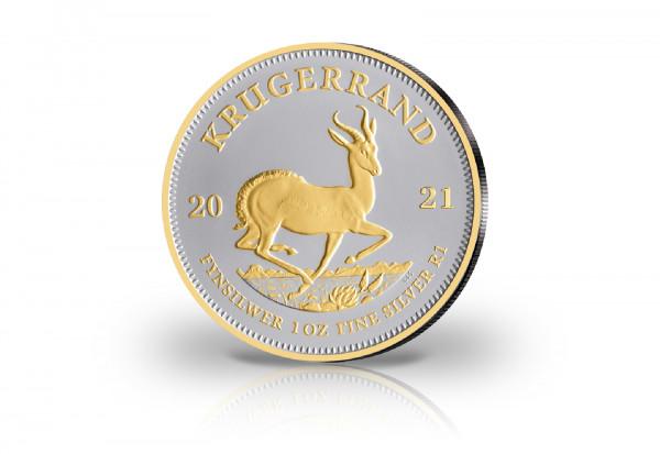 Krügerrand 1 oz Silber 2021 Südafrika veredelt mit 24 Karat Goldapplikation