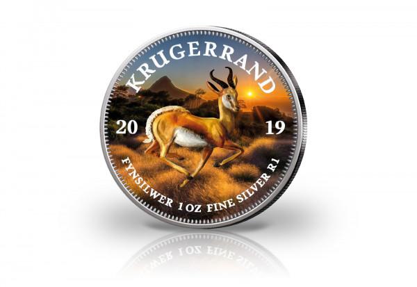 Krügerrand 1 oz Silber 2019 Südafrika veredelt mit Farbapplikation