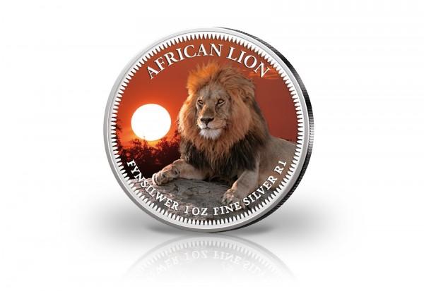 Krügerrand 1 oz Silber Südafrika mit Farbmotiv Löwe