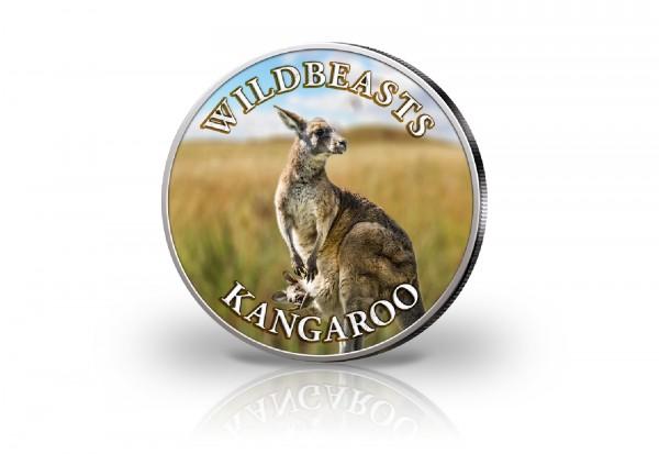 Krügerrand 1 oz Silber Südafrika mit Farbmotiv Känguru