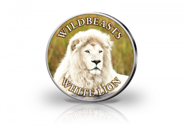 Krügerrand 1 oz Silber Südafrika mit Farbmotiv Weißer Löwe
