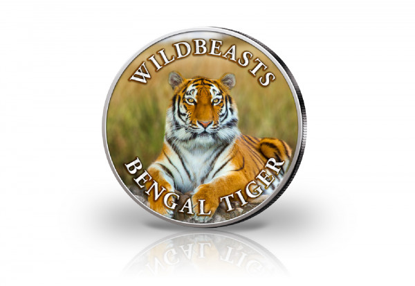 Krügerrand 1 oz Silber Südafrika mit Farbmotiv Bengaltiger