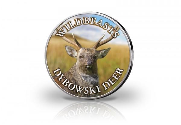 Krügerrand 1 oz Silber Südafrika mit Farbmotiv Dybowski-Hirsch