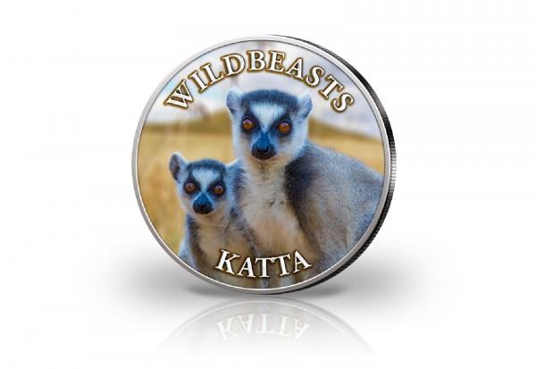 Krügerrand 1 oz Silber Südafrika mit Farbmotiv Katta
