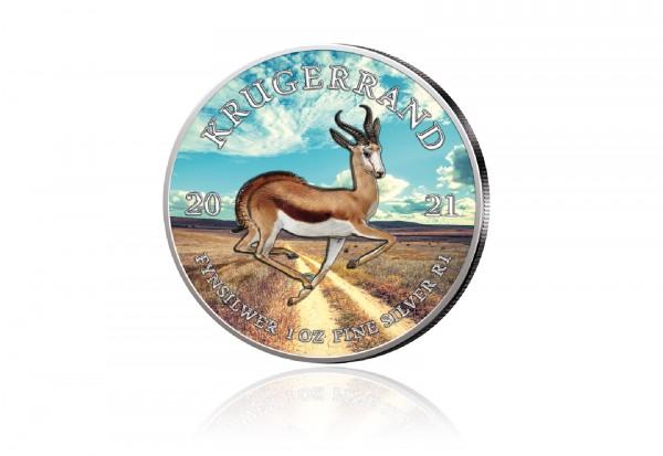 Krügerrand 1 oz Silber 2021 Südafrika veredelt mit Farbapplikation