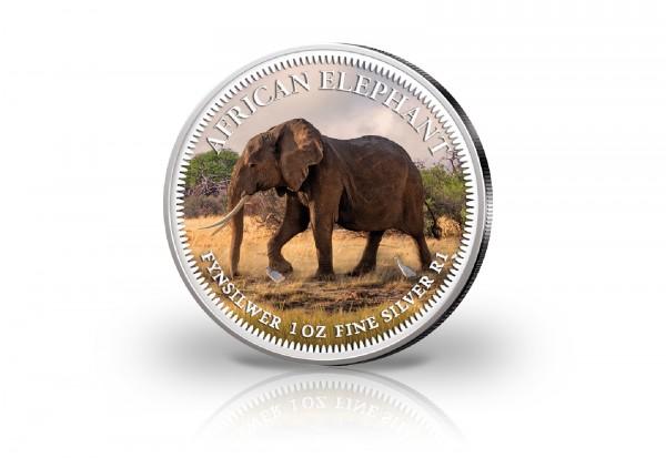 Krügerrand 1 oz Silber Südafrika mit Farbmotiv Elefant
