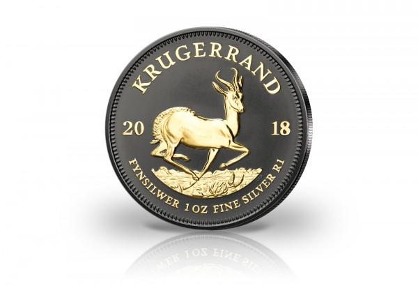 Krügerrand 1 oz Silber 2018 Südafrika veredelt mit Ruthenium und 24 Karat Goldapplikation