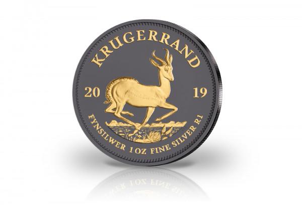 Krügerrand 1 oz Silber 2019 Südafrika veredelt mit Ruthenium und 24 Karat Goldapplikation