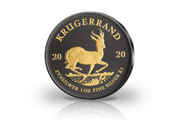 Krügerrand 1 oz Silber 2020 Südafrika veredelt mit Ruthenium und 24 Karat Goldapplikation