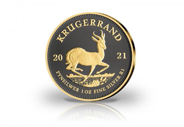 Krügerrand 1 oz Silber 2021 Südafrika veredelt mit Ruthenium und 24 Karat Goldauflage