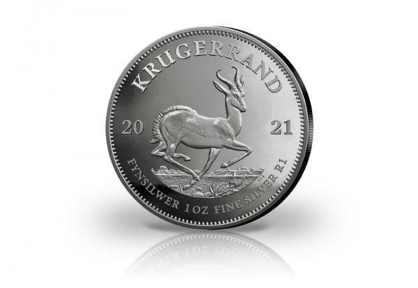 Krügerrand 1 oz Silber 2021 Südafrika veredelt mit Ruthenium