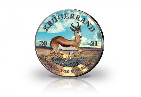 Krügerrand 1 oz Silber 2021 Südafrika veredelt mit Ruthenium und Farbapplikation